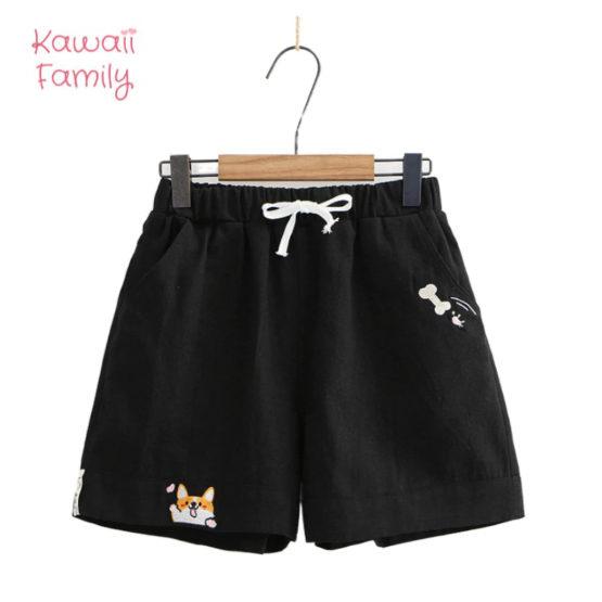 Corgi High Waist embroidery shorts