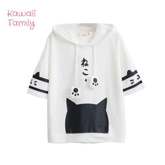 Cat short sleeve hoodie