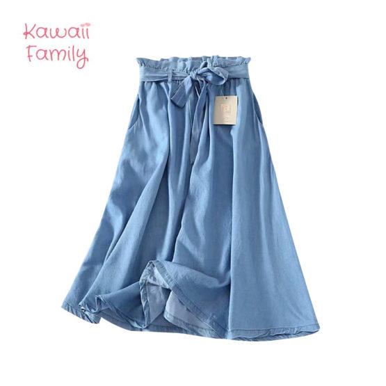 Summer Women Tencel Waistband Skirt