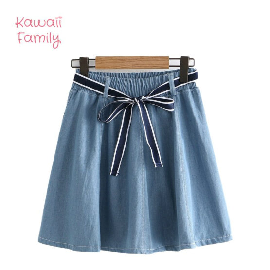 Solid Lace pleated elastic skirt