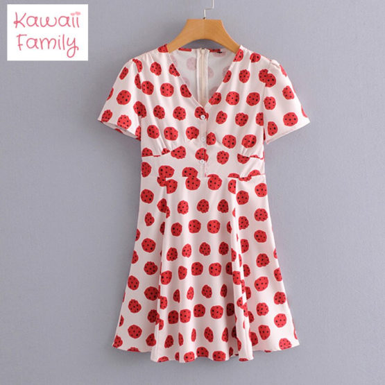 Kawaii watermelon V-neck dress