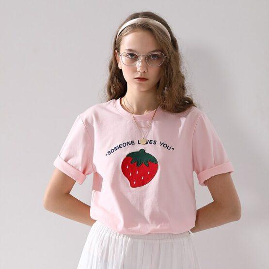 Summer Strawberry Round Neck T-shirt