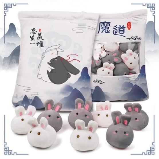 Bunnies stuffed in a bag plushie