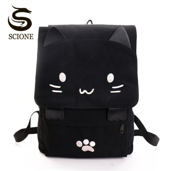 Kawaii cat canvas backpack