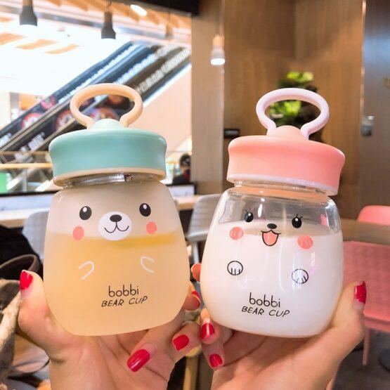 Kawaii Glass bear Water Bottle